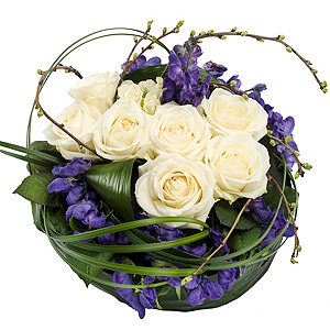 Purple and White Posy
